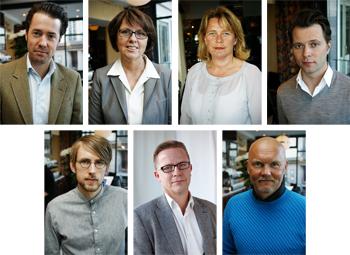 Övre rad fr.v. Johan Östlund, Eva Fernvall, Magdalena Gerger, Dan Landin. Nedre rad fr. v. Niklas Persson, Magnus Wikner, Jan Brännström.